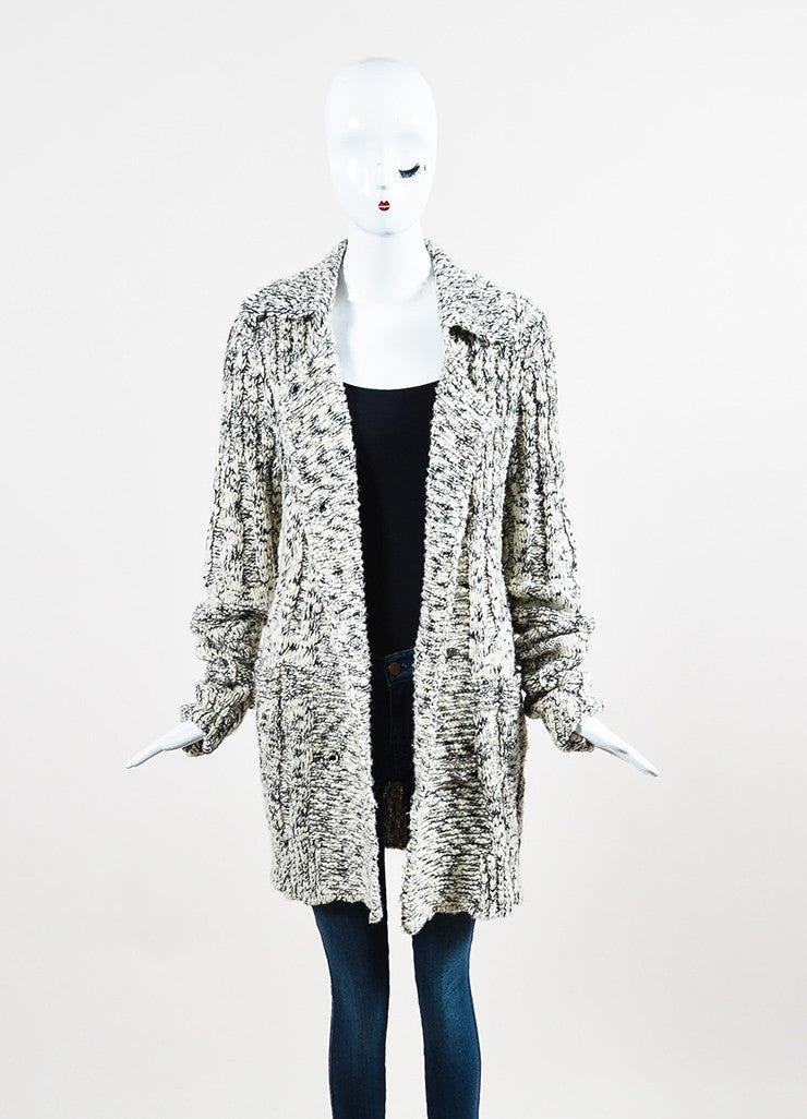 Chanel White and Black Wool Blend Knit Rhinestone Embellished Cardigan Frontview