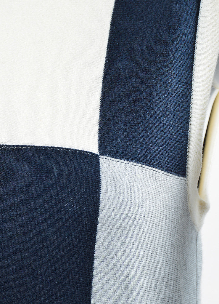 Yellow, Blue, and Grey Chanel Cotton and Cashmere Blend Sleeveless Knit Dress Detail