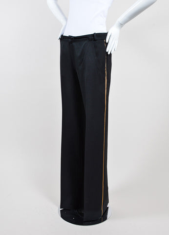 Black and Gold Chloe Wool Straight Leg High Waisted Trousers Sideview