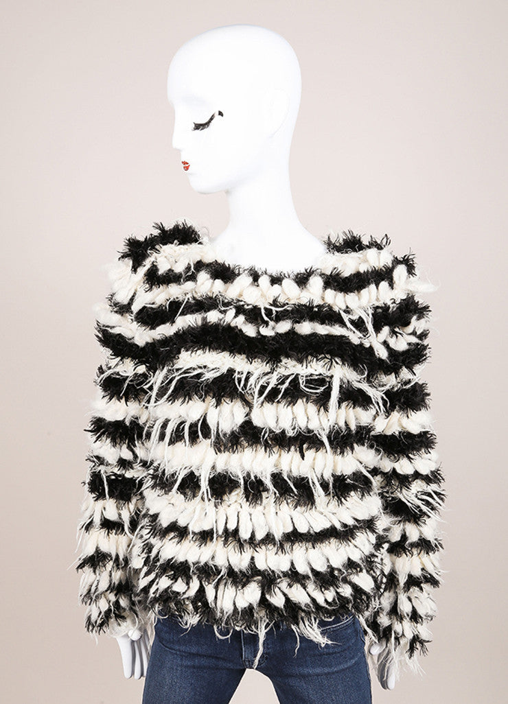 Chloe New With Tags Black and Cream Mohair and Alpaca Striped Shaggy Pullover Sweater Frontview