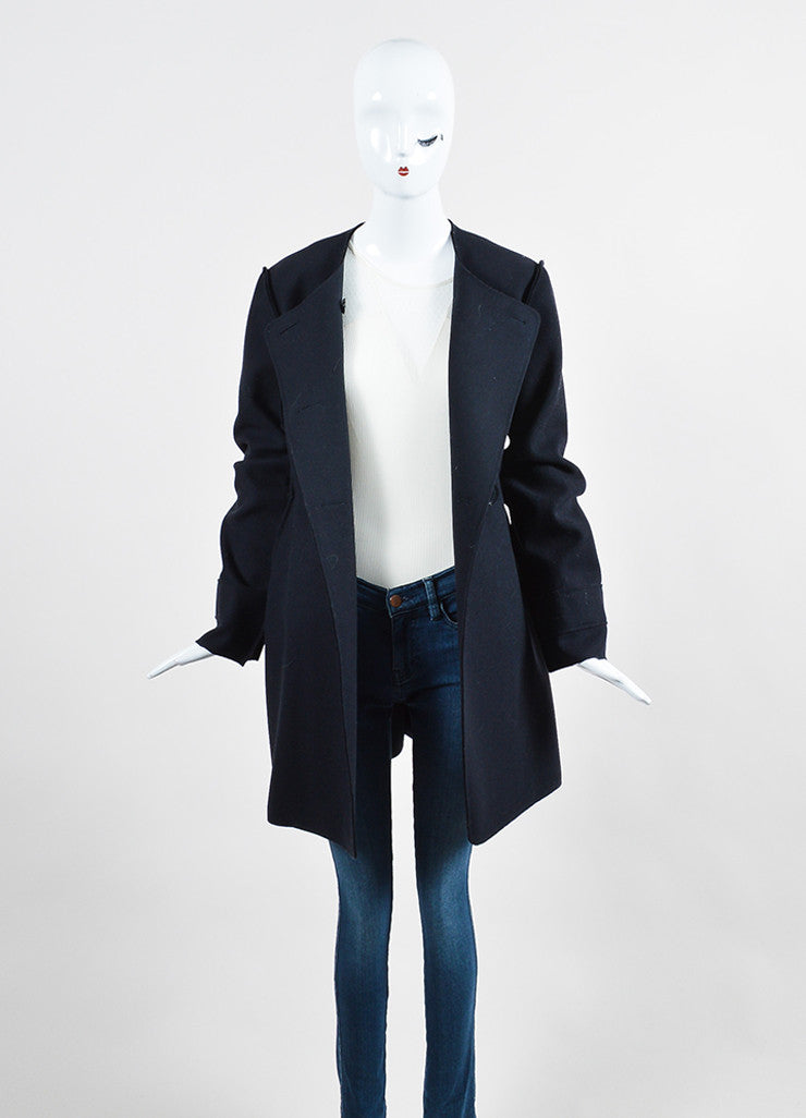 Christian Dior Navy Wool Exposed Seam Double Breasted Coat Frontview