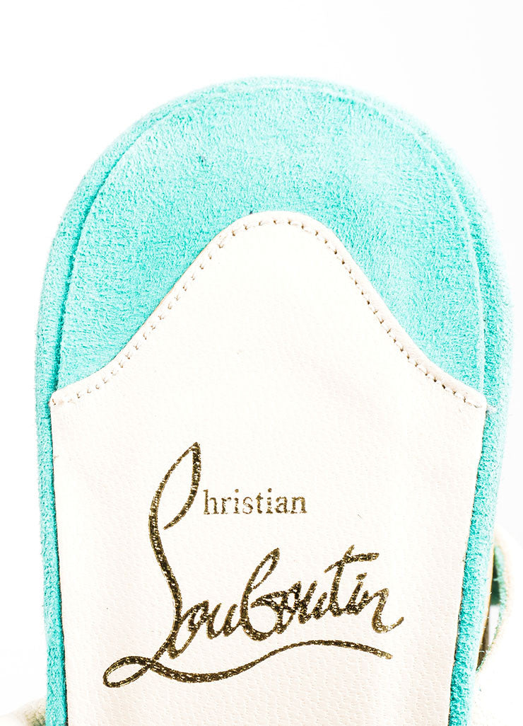 "Teal Christian Louboutin Suede Cork ""Super Dombasle"" Sandals Brand"
