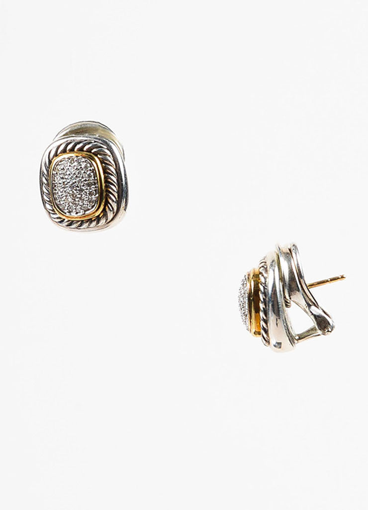 "David Yurman Sterling Silver 18K Gold Diamond ""Albion"" Cable Trim Earrings Sideview"