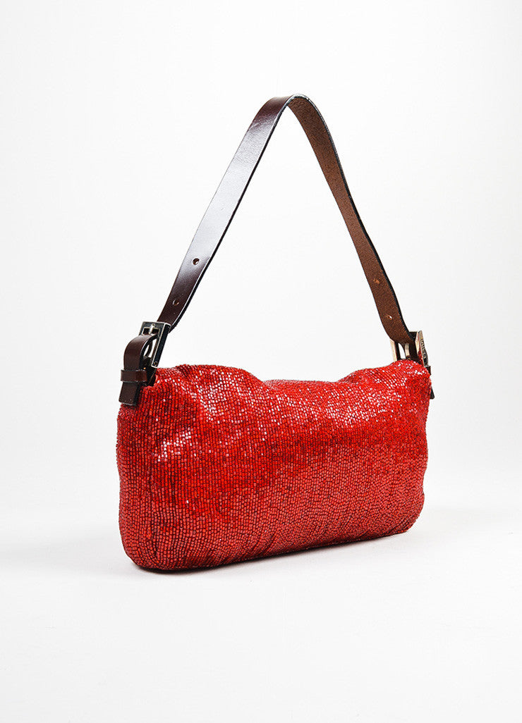 Red and Brown Fendi Beaded Logo Leather Strap Baguette Bag Backview