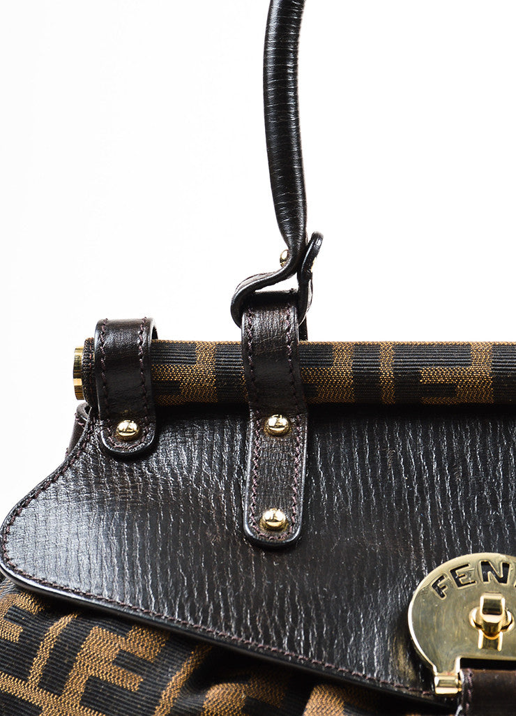 "Fendi ""Tobacco"" Brown Canvas Leather 'FF' Monogram ""Zucca Magic"" Satchel Bag Detail 2"