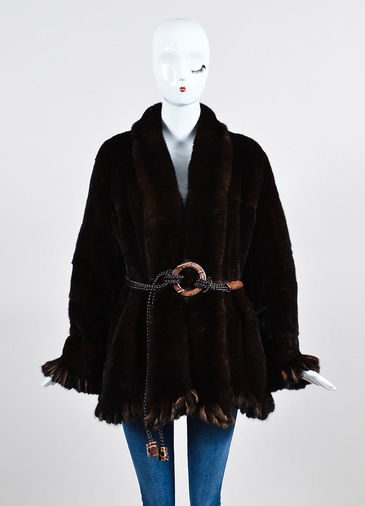 Giuliana Teso Brown Mink Fur Suede Fringe Belted Reversible Coat Frontview
