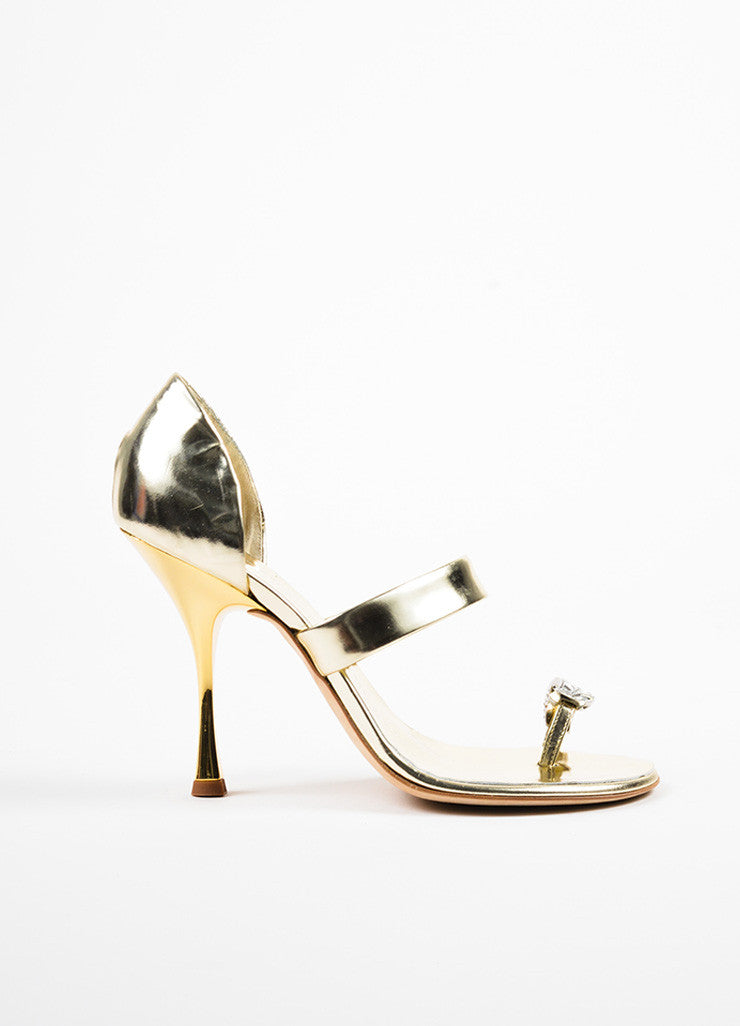 Giuseppe Zanotti Metallic Silver and Gold Leather Rhinestone Toe Sandals Sideview