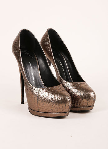 "Giuseppe Zanotti Metallic Taupe Snakeskin Leather ""Eva"" Platform Pumps Frontview"
