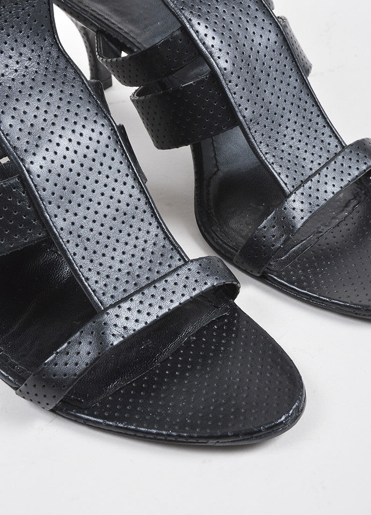 Black Givenchy Perforated Leather Strappy Heeled Sandal Detail