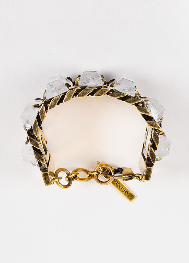 Givenchy Brass Toned Rock Crystal Chunky Curb Chain Link Wide Bracelet Topview