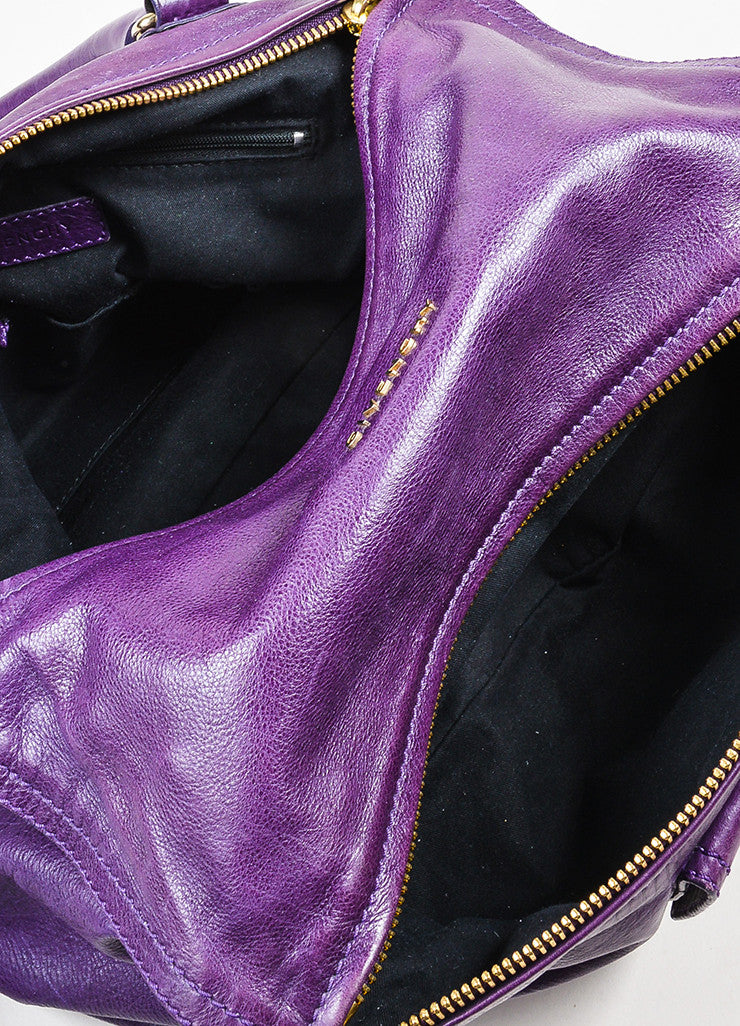 "Purple Leather Gold Toned Zip Givenchy ""Medium Pandora"" Messenger Bag Interior"