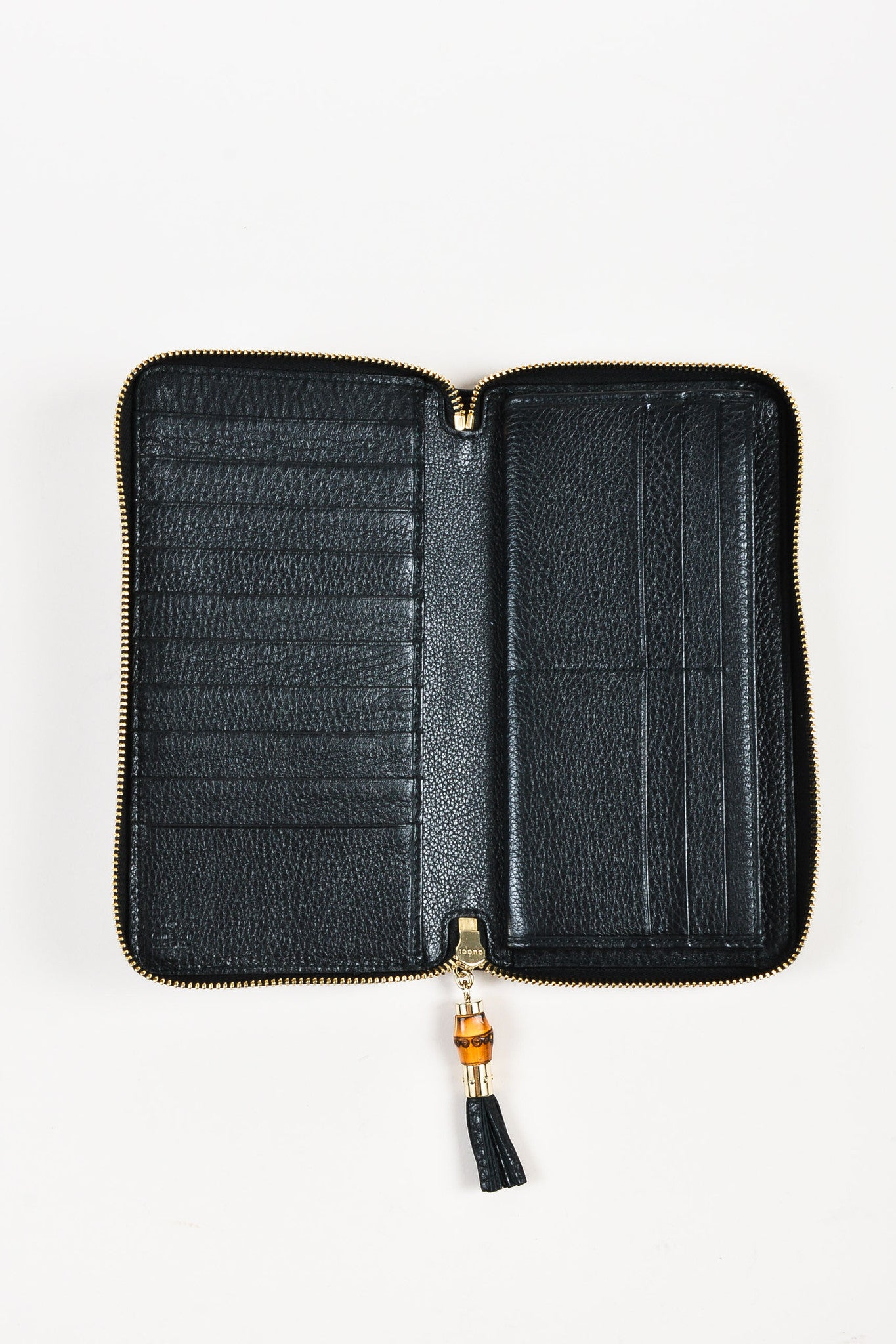 "Gucci Black Gold Toned Leather Bamboo Tassel ""Zip Around"" Wallet Interior"