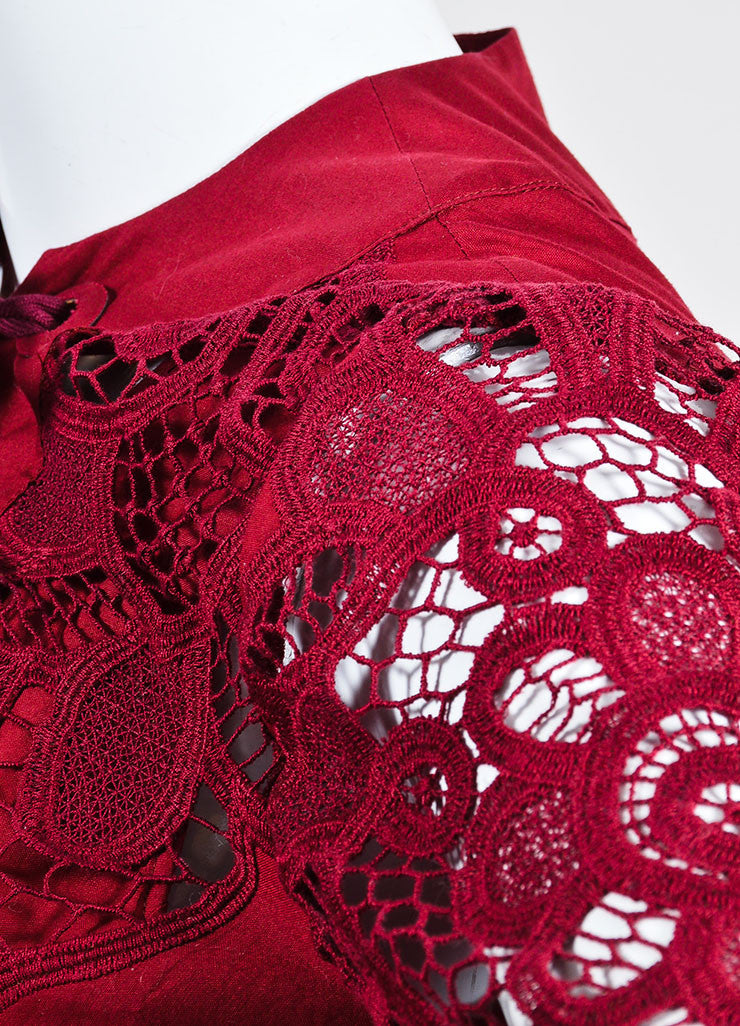 Cranberry Red Gucci Crotcheted Long Sleeve Laceup Dress Detail