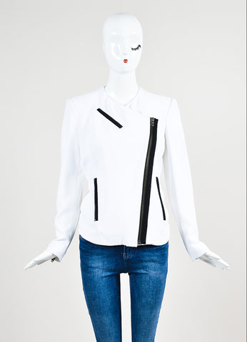 "White and Black Helmut Lang Crepe Asymmetrical ""Sugar"" Jacket Frontview 2"