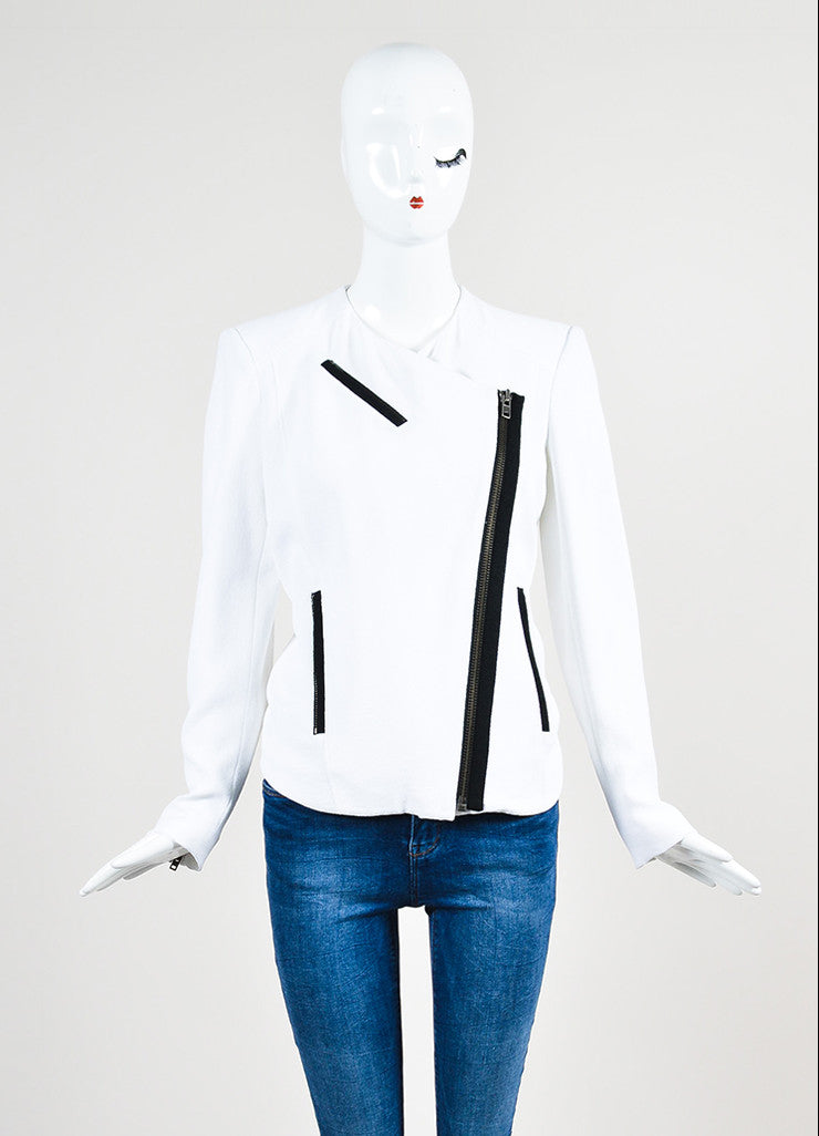 "Helmut Lang White and Black Crepe Asymmetrical ""Sugar"" Jacket Frontview 2"