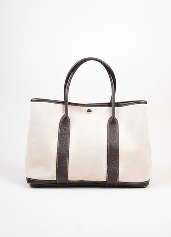 Hermes Natural Toile Marron Fonce Buffalo Leather Garden Party MM Tote Bag Frontview