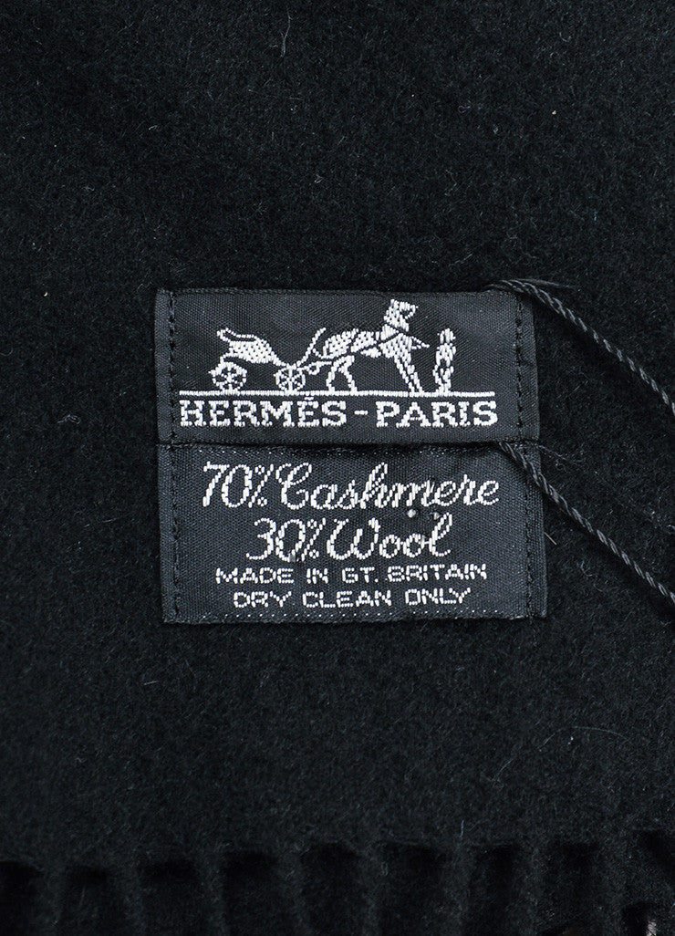 Black Hermes Cashmere and Wool Fringe Throw Blanket Brand