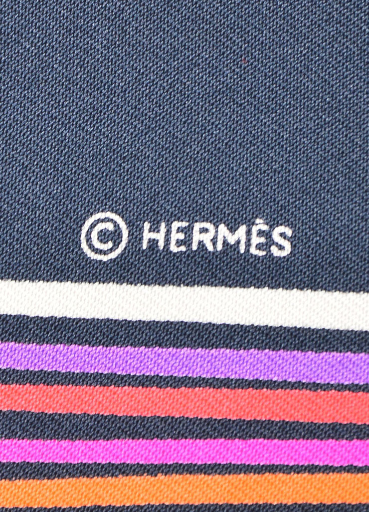 "Hermes Black Pink Yellow Woven Silk Geometric Striped ""24 Faubourg"" 90cm Scarf Brand 2"