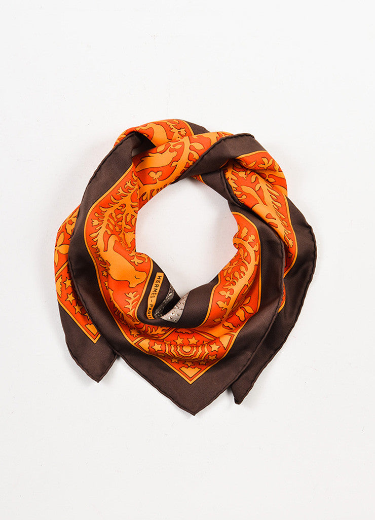 "Hermes Brown and Multicolor Silk Twill Graphic Printed ""Early America"" Scarf  Frontview"