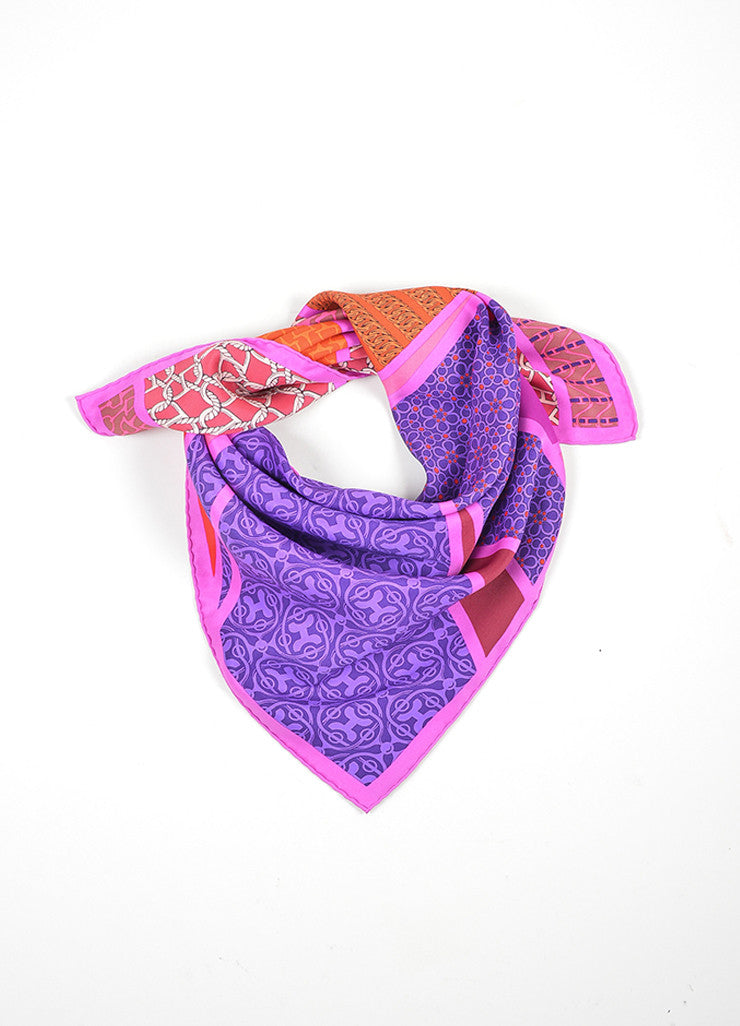 "Purple, Pink, and Red Hermes Silk Chain Print ""Carre en Cravates"" Scarf Frontview"