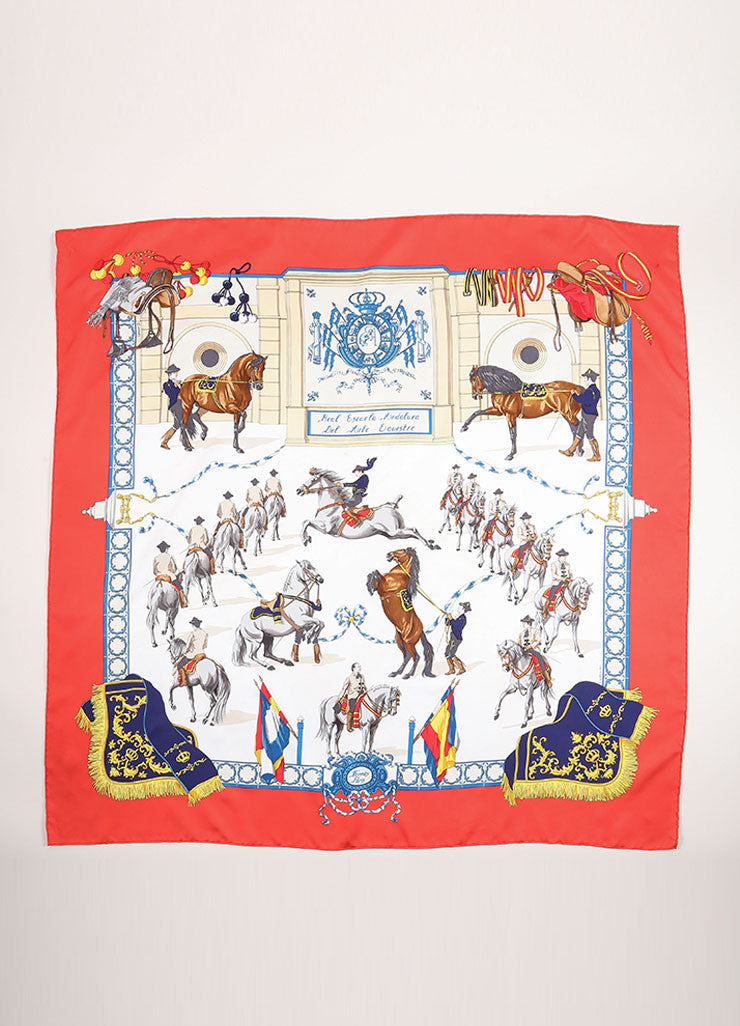 Hermes Multicolor Silk Horse Equestrian Print Scarf Frontview