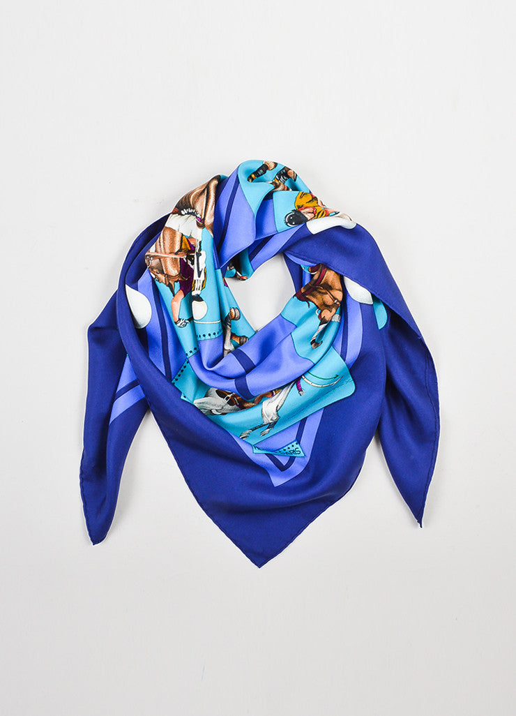 "Hermes Teal and Purple Silk ""Le Monde du Polo"" Square Scarf Frontview"