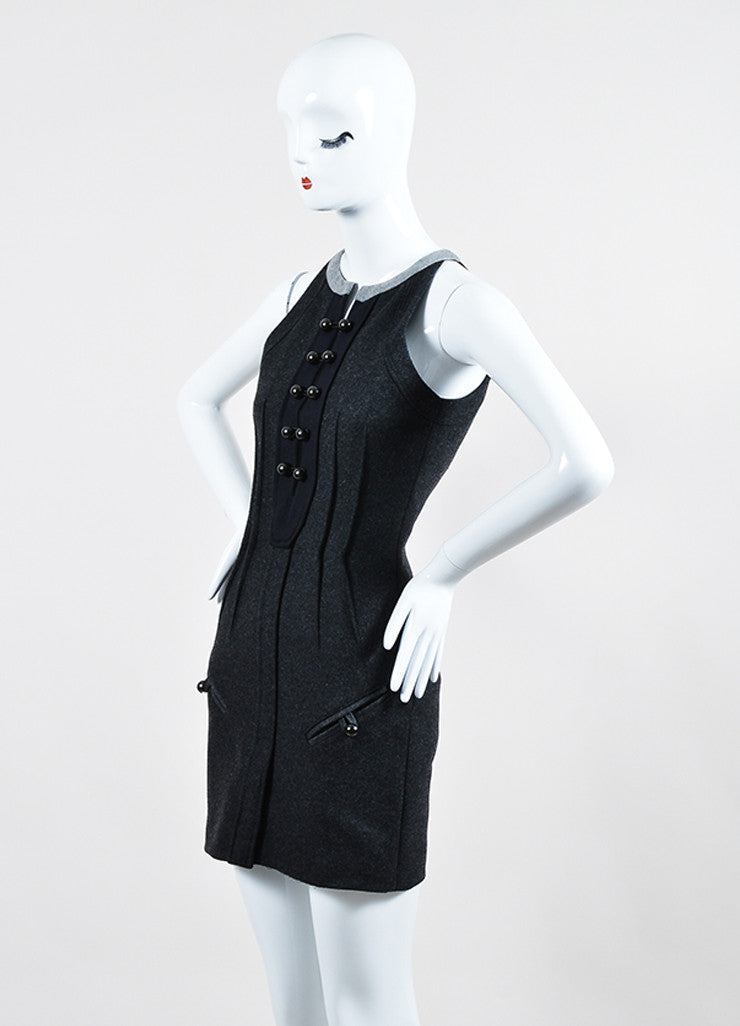 "Isabel Marant Dark Grey Brandebourg Flannel Sleeveless ""Kierra"" Dress Sideview"