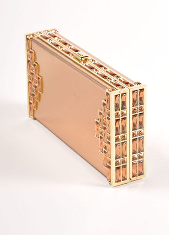 Judith Leiber Rose Gold Jewel Trim Rectangular Clutch Bag Sideview