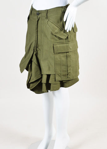Junya Watanabe Comme des Garcons Olive Green Ruffle Leg Cargo Shorts Sideview