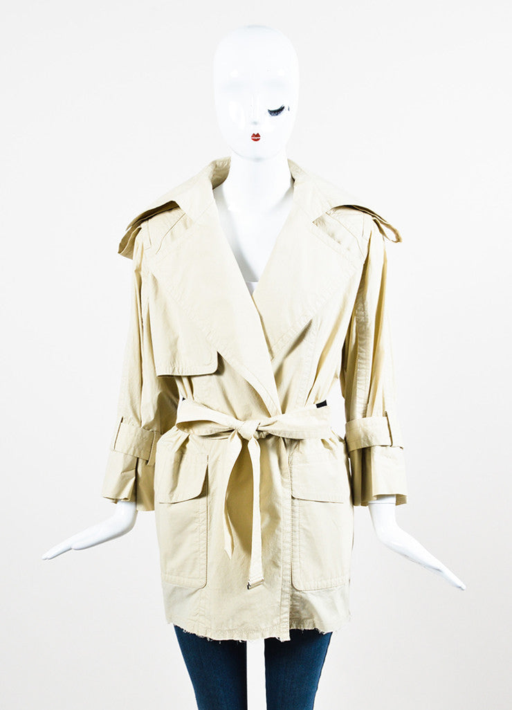 KaufmanFranco Khaki Beige Wrap Belted Short Trench Coat Frontview