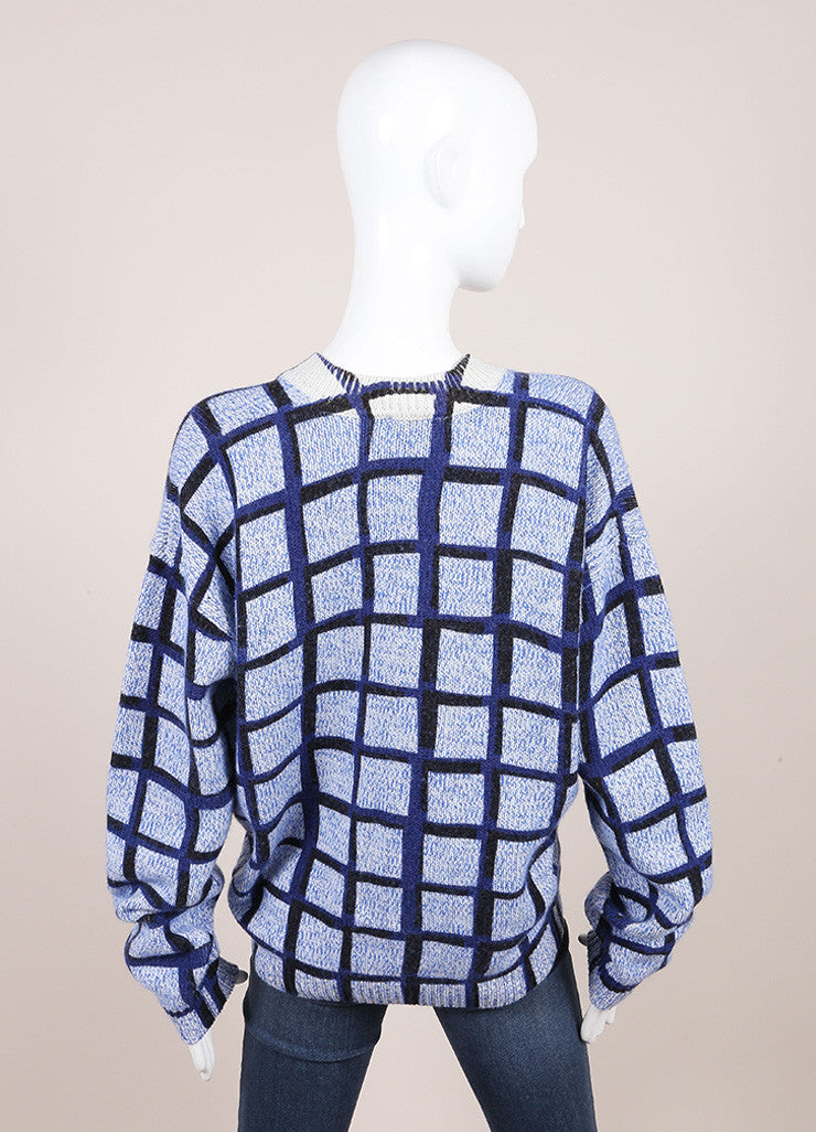Kenzo New With Tags Blue and Black Wool and Cashmere Knit Windowpane V-Neck Sweater Backview