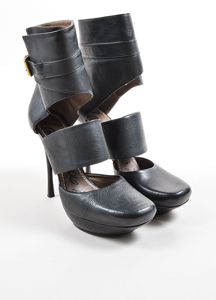 Lanvin Black Leather Cut Out Buckle Strap Ankle Platform Heeled Booties Frontview