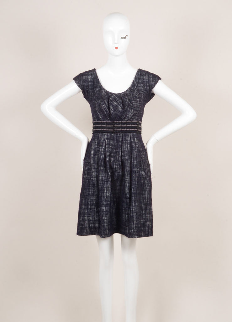 Lela Rose Black, White, and Navy Wool Blend Knit Woven Tweed Pleated Dress Frontview