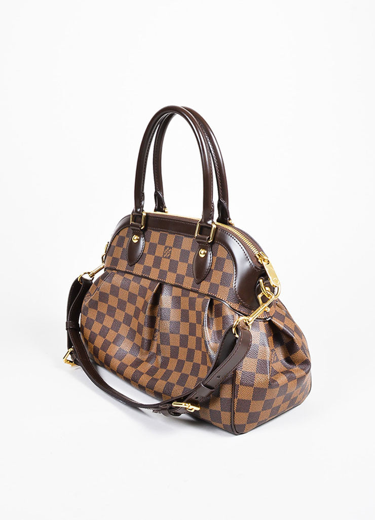 "Brown Louis Vuitton Coated Canvas and Leather ""Damier Trevi PM"" Satchel Bag Sideview"