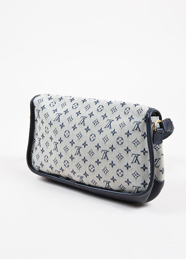 "Louis Vuitton Blue and Grey ""Mini Lin"" Canvas Monogram ""Marjorie"" Shoulder Bag Sideview"