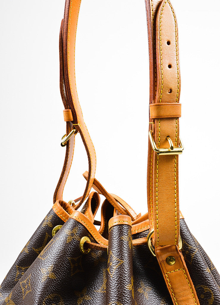 "Brown and Tan Louis Vuitton Monogram Coated Canvas ""Petit Noe"" Bucket Bag Detail 2"