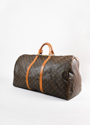 "Louis Vuitton Brown and Tan Monogram Leather ""Keepall 60"" Bag Sideview"