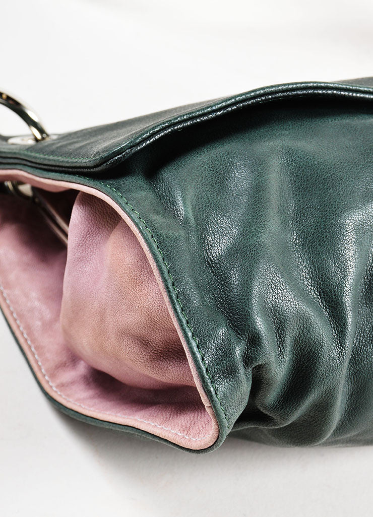 Dark Green, Mauve, and Brown Marni Leather Satchel Shoulder Bag Detail