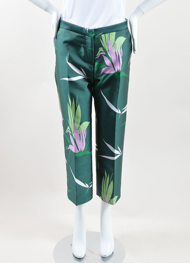 Marni Green and Multicolor Floral Silk Jacquard Ankle Pants Frontview