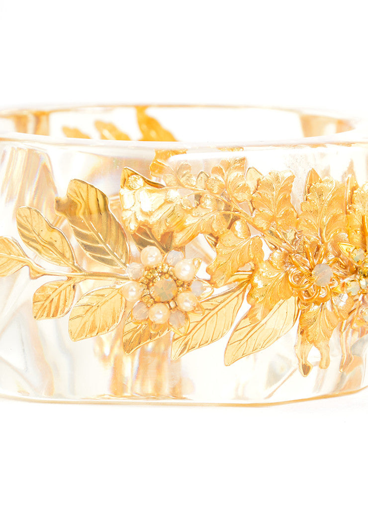 Miriam Haskell Gold Toned Faux Pearl Leaf and Flower Oversized Bangle Bracelet Detail 2