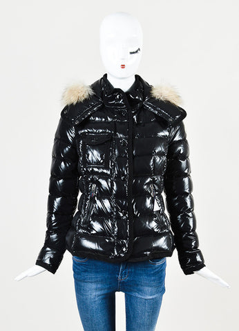"Moncler Black Nylon Quilted Fur ""Armoise"" Down Puffer Coat Jacket Frontview 2"