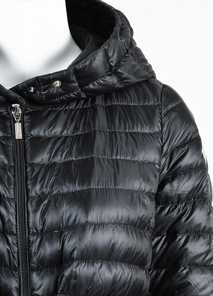 Black Moncler Down Puffer Hooded Zip Coat Detail