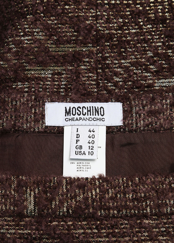 Moschino Cheap and Chic New With Tags Brown Metallic Gold Wool Boucle Pencil Skirt Brand