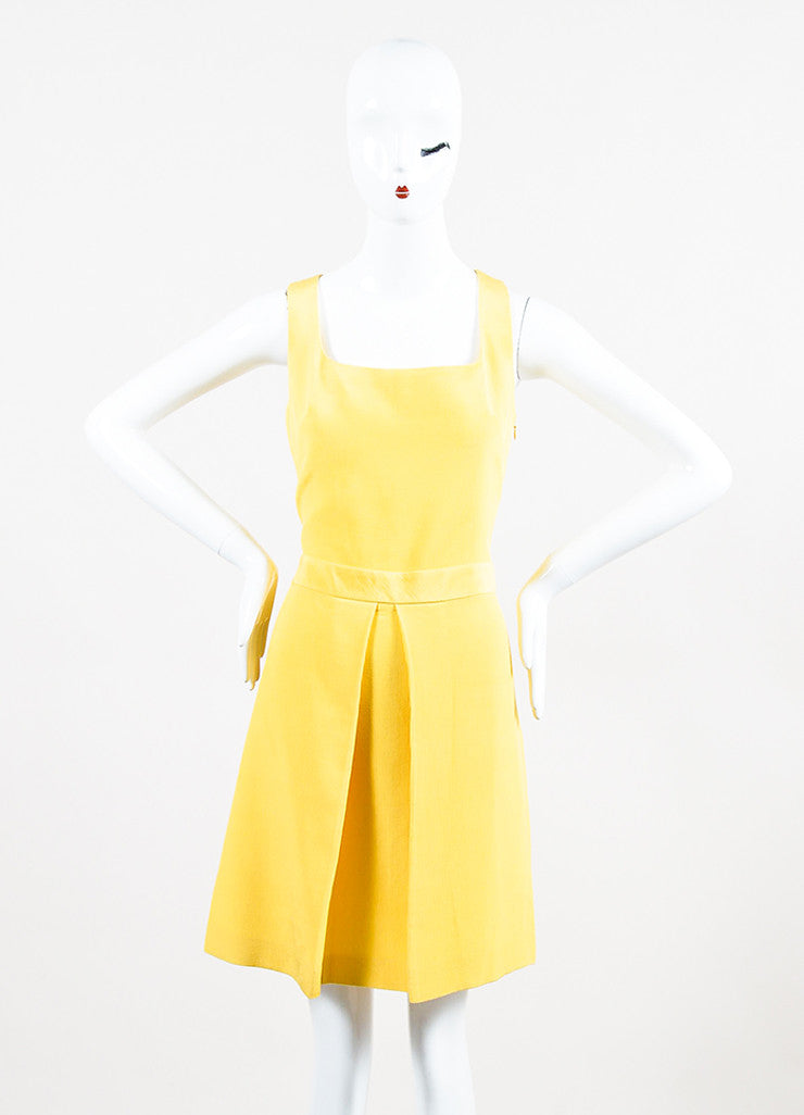 Yellow Moschino Cheap and Chic Cotton Blend Pleated Sleeveless Dress Front 2