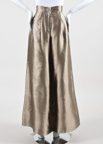 Oscar de la Renta Metallic Taupe Pleated High Waisted Wide Leg Trousers Frontview