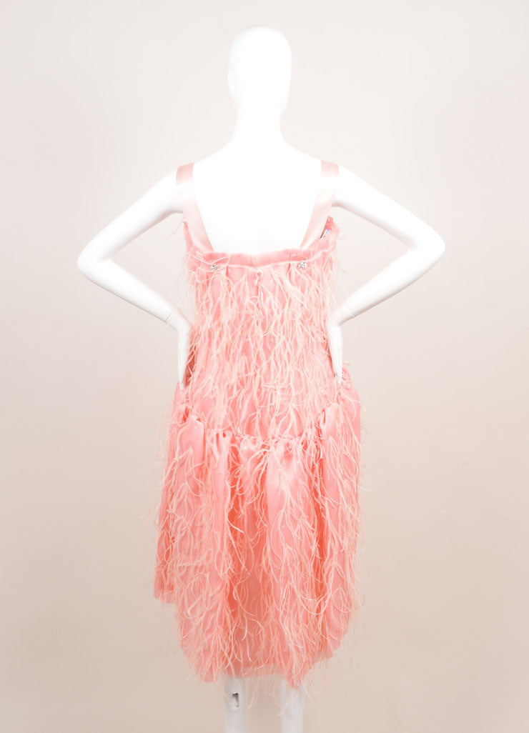 Oscar de la Renta New With Tags Light Pink Silk Woven Feather Sequin Dress Backview