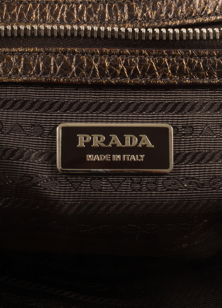 Prada  Bronze and Gold Pebbled Leather Ombre Structured Tote BagBrand