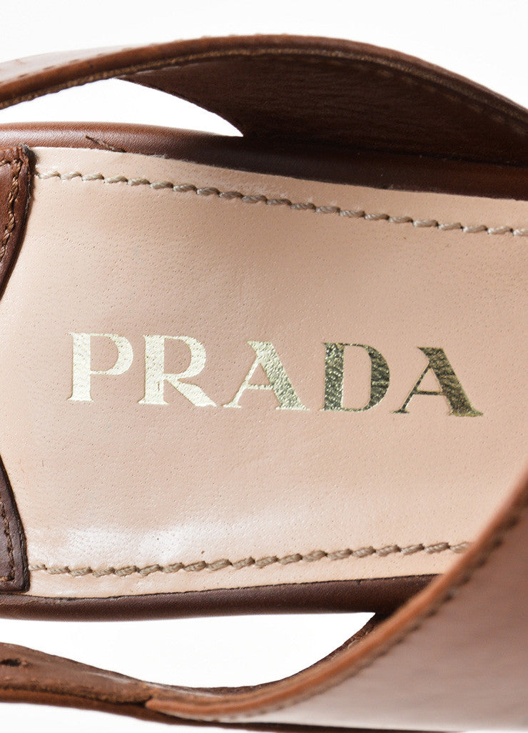 Prada Brown Leather Cut Out Strappy Platform Wedge Sandals Brand