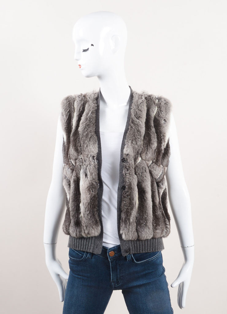 Prada New With Tags Grey Cream Chinchilla, Wool, and Cashmere Blend Sweater Vest Frontview