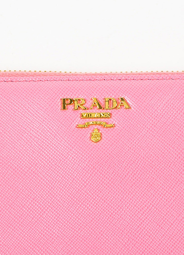 Prada Pink Gold Toned Saffiano Leather Zip Around Wallet Brand